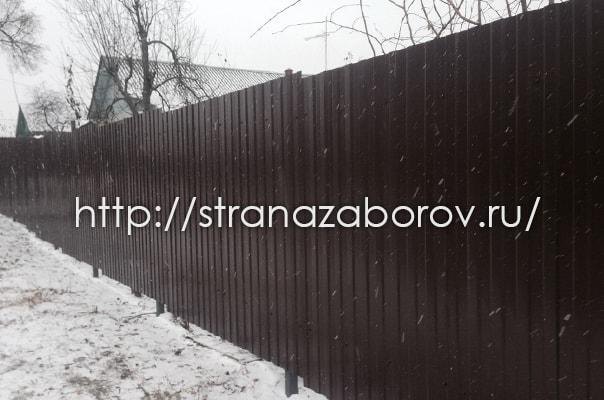 Коломна. Забор из профнастила